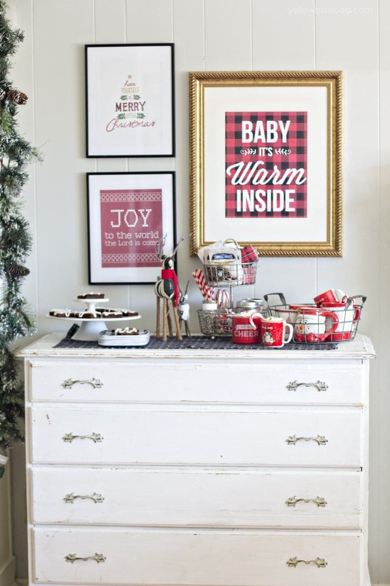 Christmas Treat and Hot Chocolate Station and Wall Art in rustic plaids