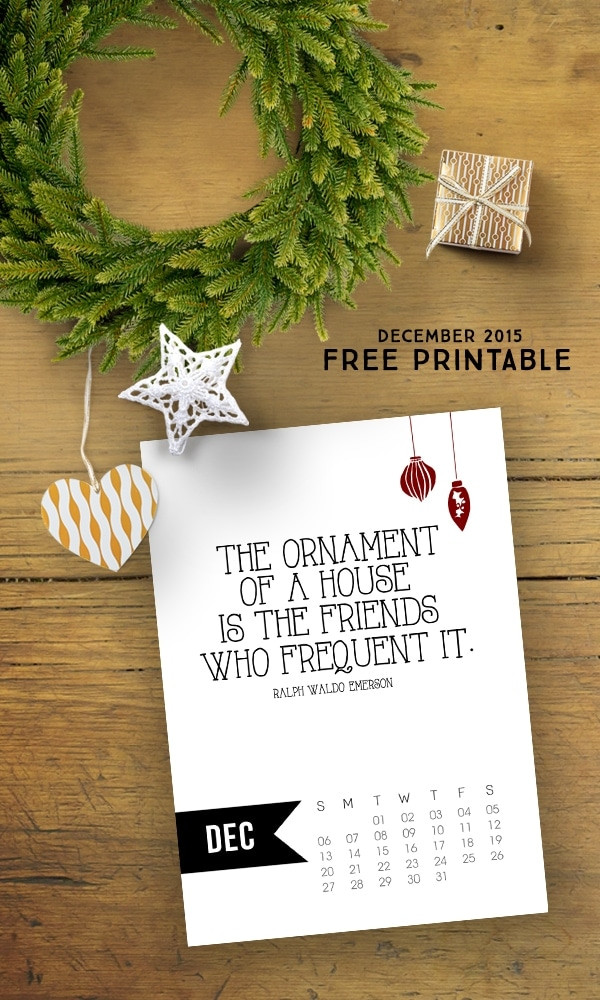 Free 5x7 December 2015 Calendar Printable with inspirational quote! www.livelaughrowe.com