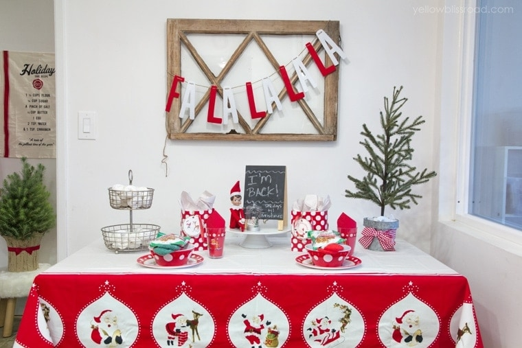 Elf on the Shelf welcome back breakfast table