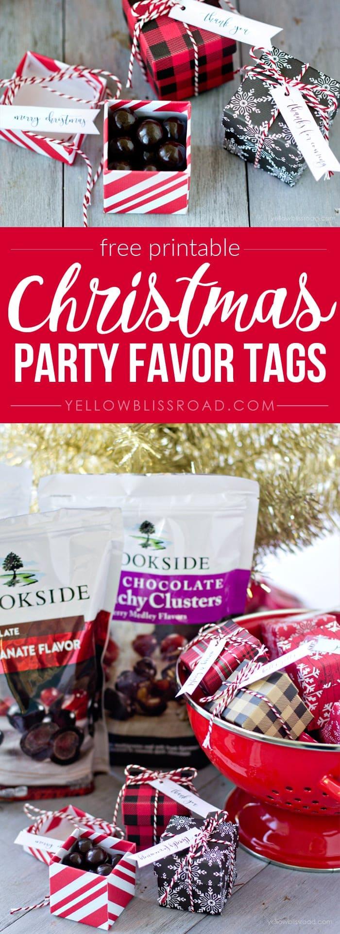 Free printable Christmas Party Favor tags