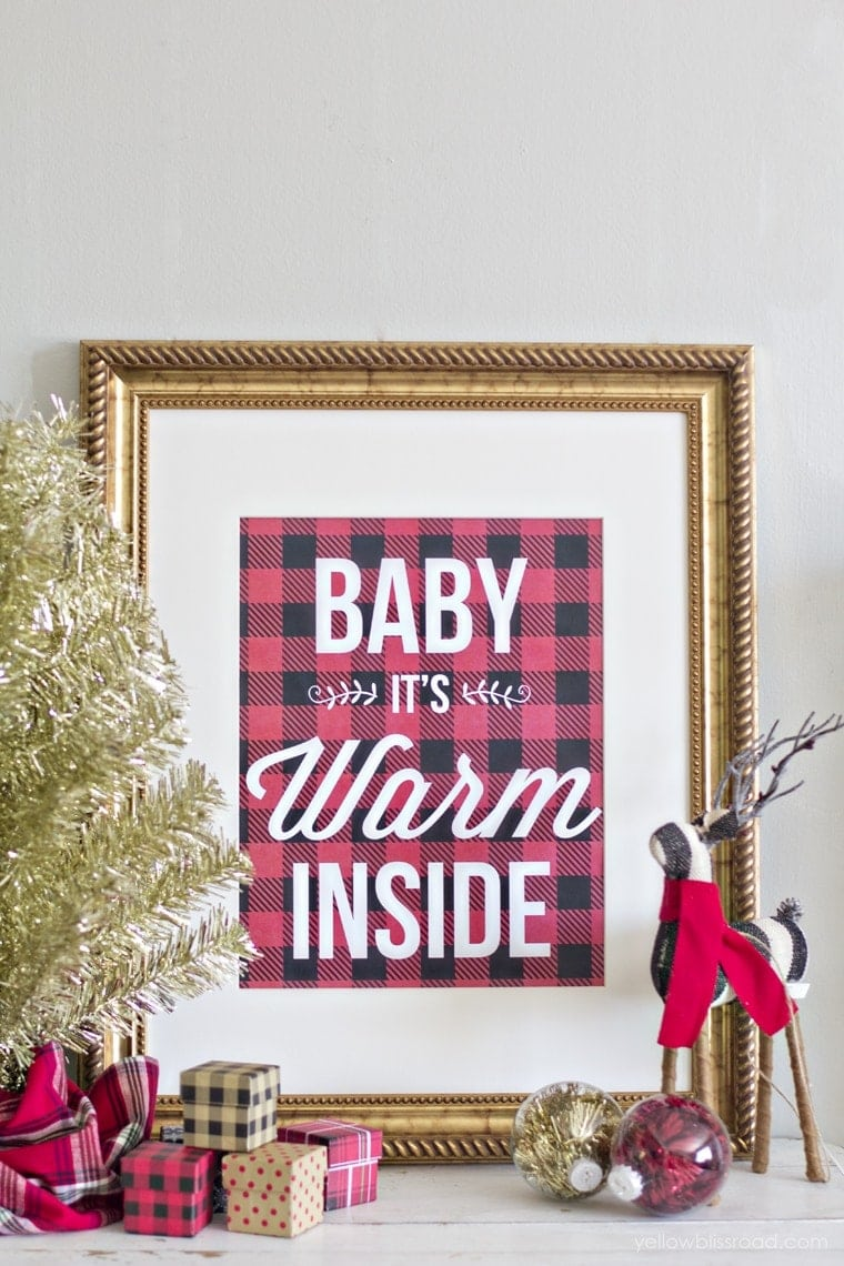 Free printable buffalo check baby it's warm inside