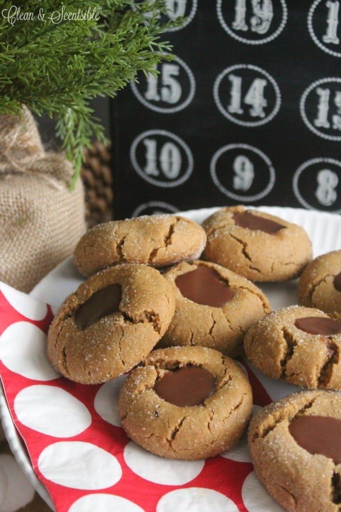 These Gingerbread Chocolate Thumbprint Christmas cookies are soft and chewy with the perfect hint of chocolate!