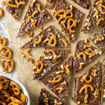 Chocolate covered toffee with pretzels
