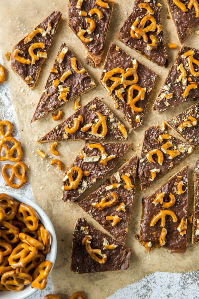 Overhead shot of graham cracker toffee with chocolate and pretzel topping