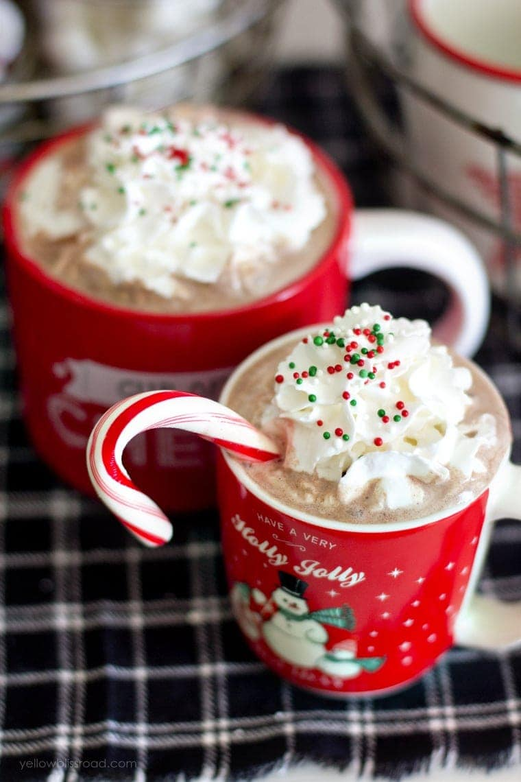 Hot chocolate in cute Christmas mugs