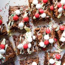 A close up of peppermint brownies