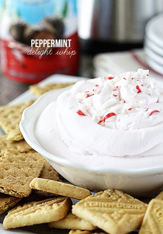 Peppermint Delight Whip. Serve with graham crackers and cookies! Perfectly fluffy and delicous for your holiday entertaining. Recipe at livelaughrowe.com