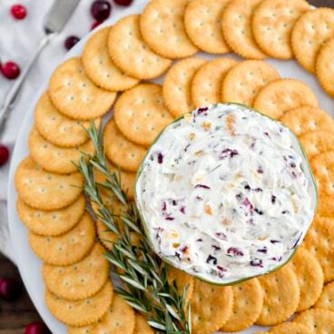 A plate of crackers and cheese spread
