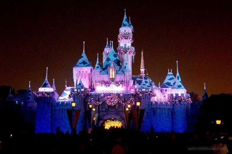 sleeping beautys castle at disneyland at christmas