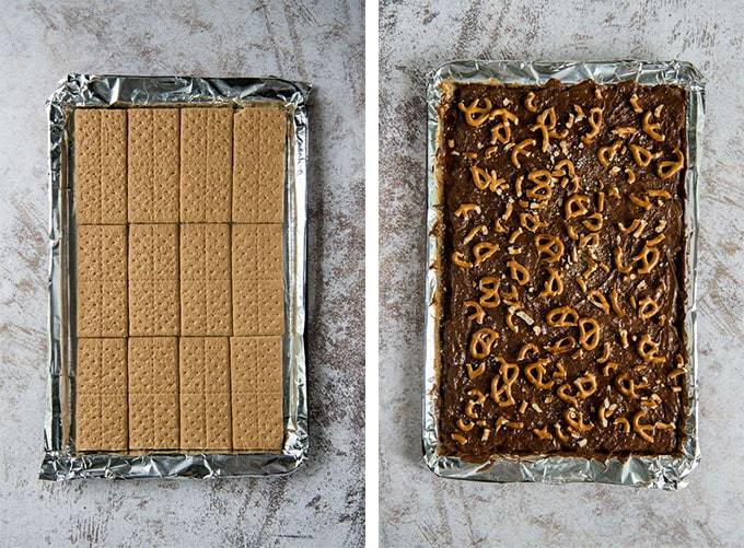 Two trays side by side showing graham cracker layer and then chocolate and pretzel layer