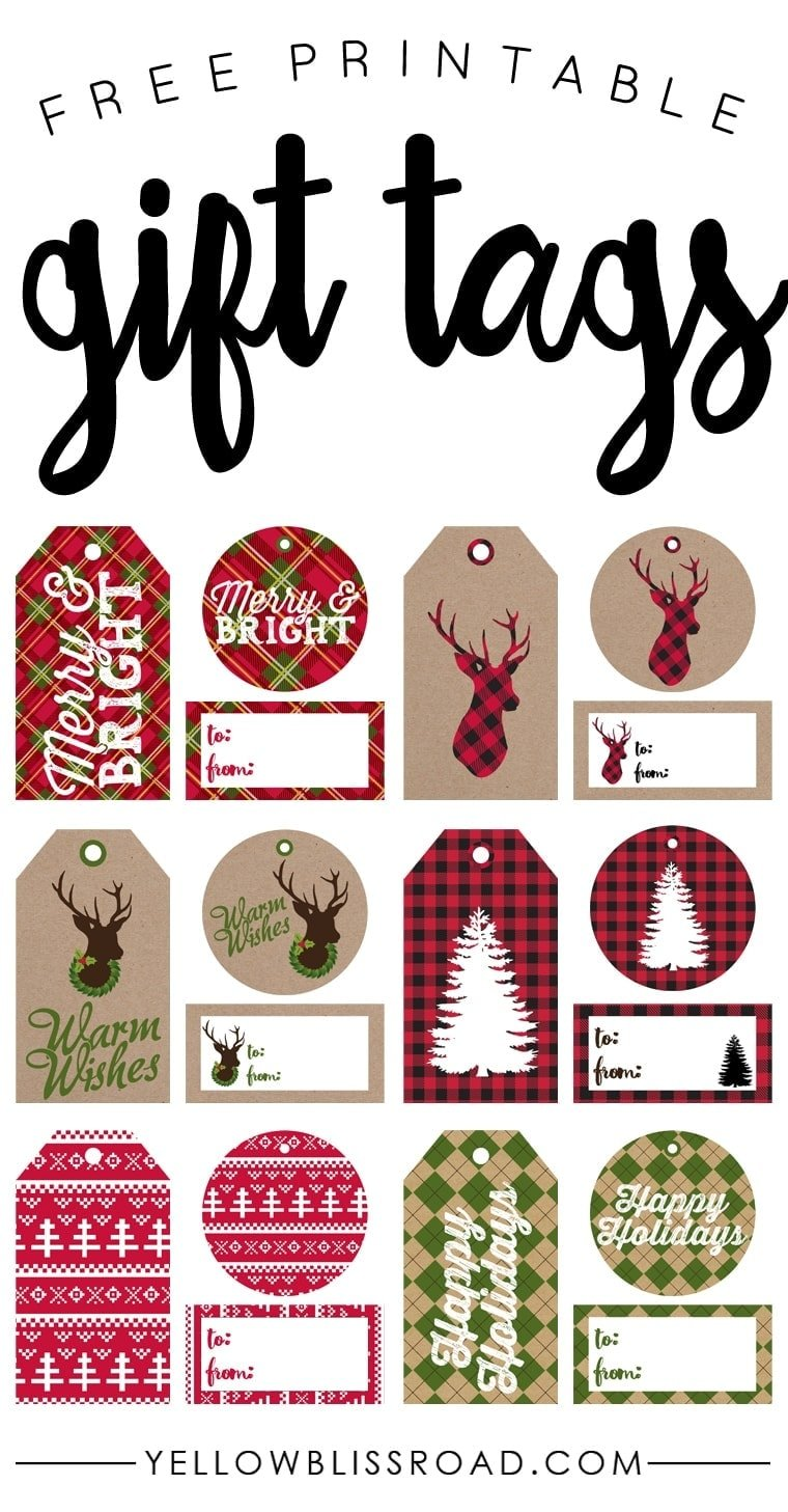 photograph regarding Free Printable Christmas Name Tags named Free of charge Printable Rustic and Plaid Reward Tags - Yellow Bliss Street