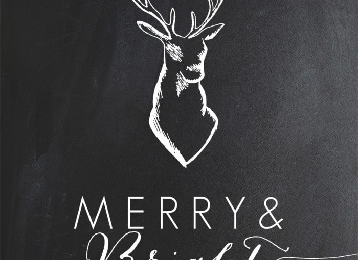 Chalkboard Christmas Deer Printables