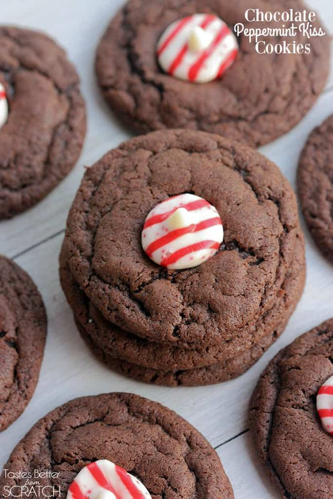 Chocolate Peppermint Kiss Cookies have a sweet peppermint kiss sitting atop a chewy, fudgy chocolate cookie!