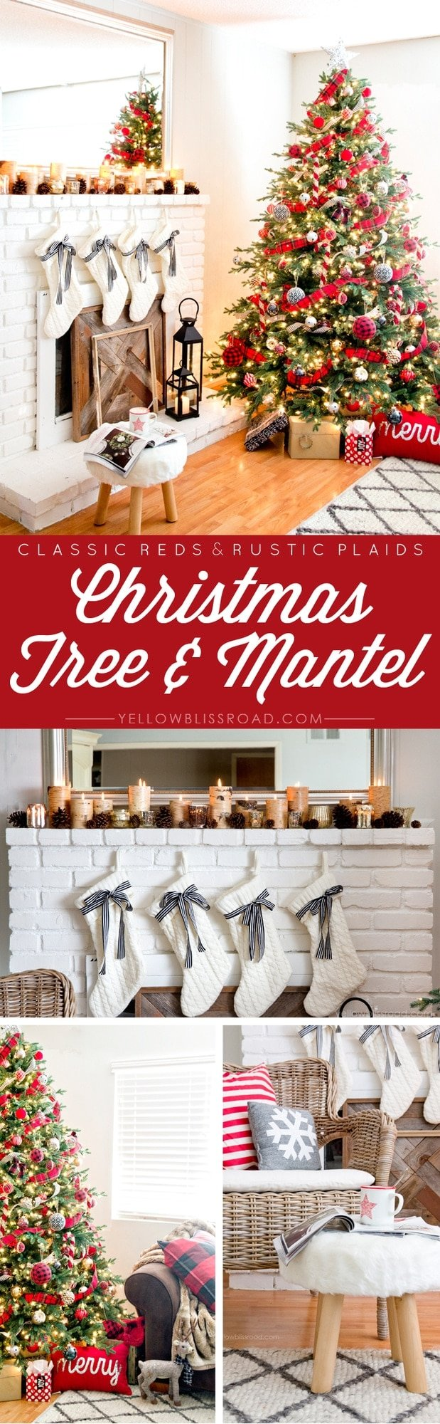 Classic Reds & Rustic Plaids Christmas Tree & Mantel
