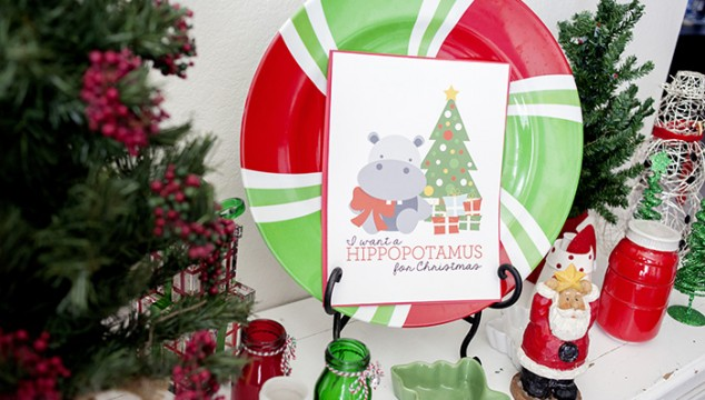 """I Want a Hippopotamus for Christmas"" Printable"