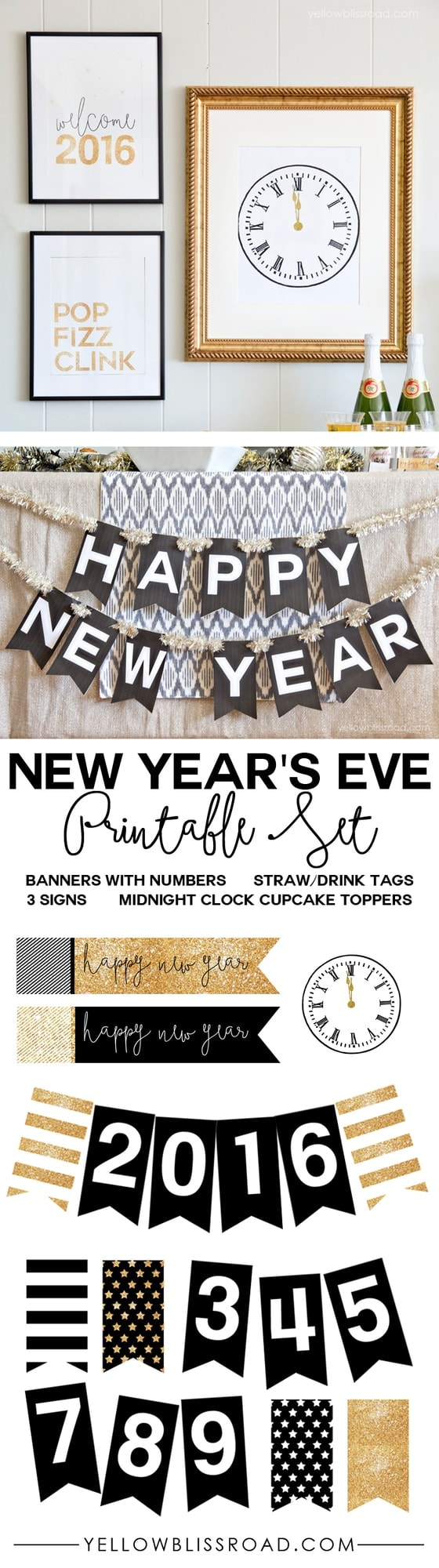 new years eve printable set with banners tags cupcake toppers and signs in black