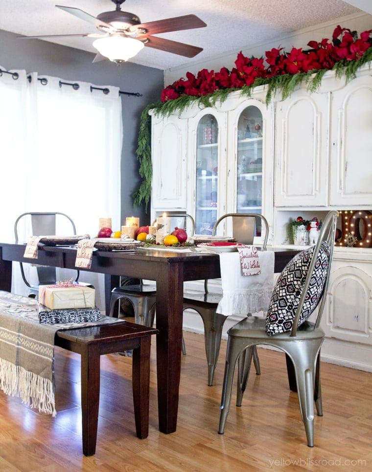 Classic Reds and Rustic Plaids Christmas Home Tour 2015 | Christmas Dining Room