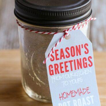 Jar of pot roast seasoning with holiday tag