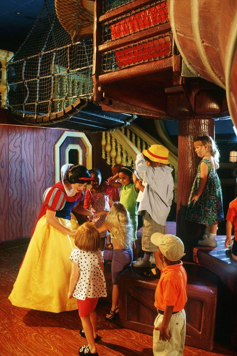 A special moment with a Disney princess comes to life when children meet Snow White at Disney's Oceaneer Lab. On the Disney Magic and the Disney Wonder, this wondrous play area is designed like Captain Hook's ship.