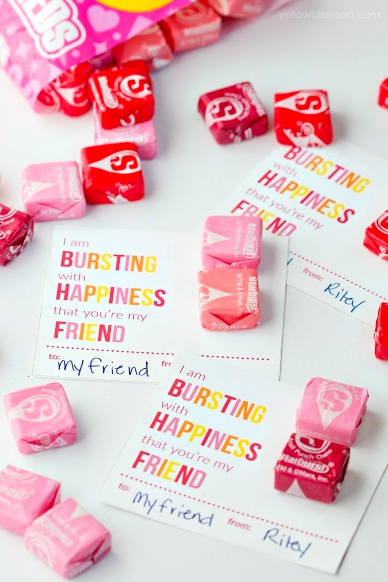 Printable starburst valentine cards yellow bliss road for Valentines day trip ideas