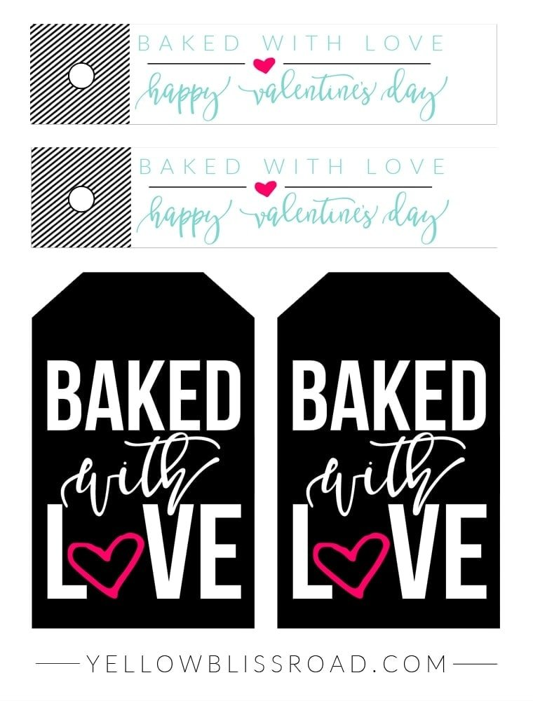 Free printable Baked with Love Tags black