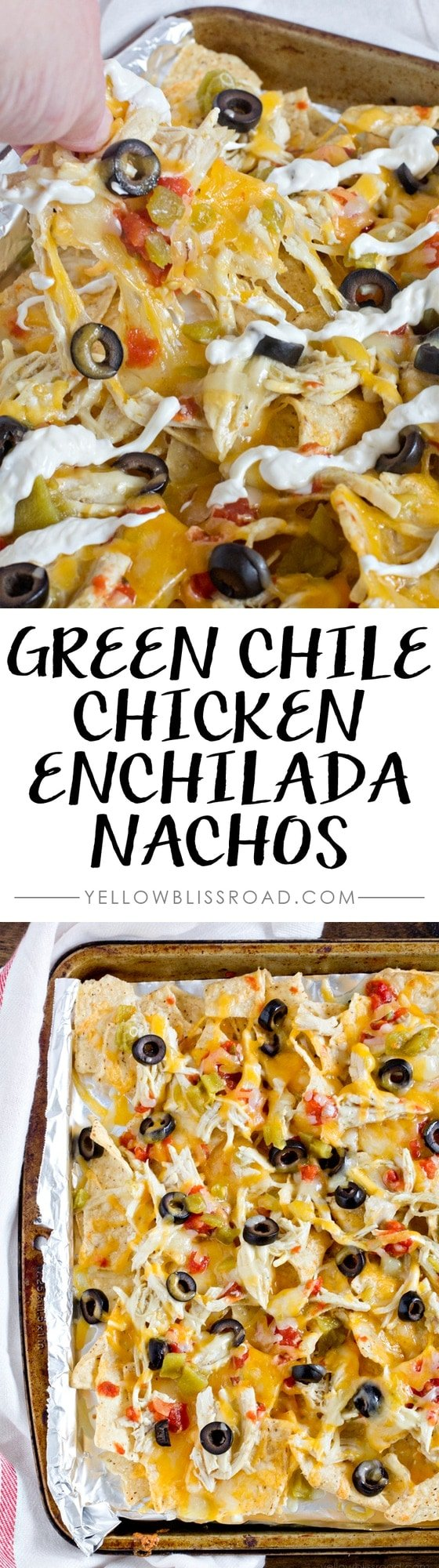 Green Chile Chicken Enchilada Nachos - Great for snacking or to feed a crowd on game day!