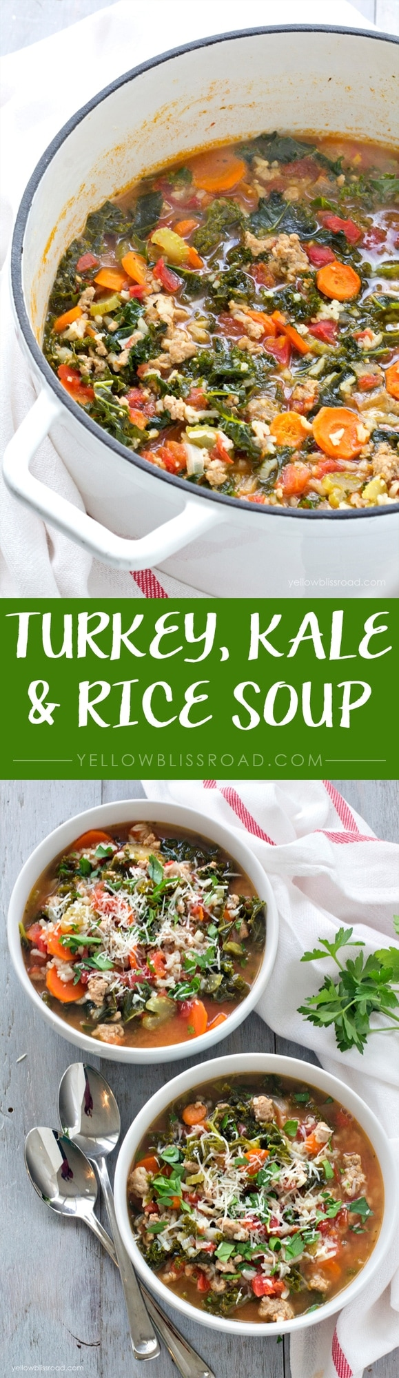 Ground Turkey, Kale and Rice Soup - pinterest collage