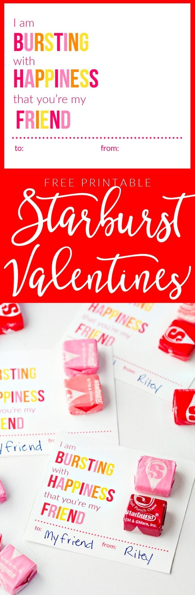 I'm Bursting with Happiness Free Printable Starburst Valentine Cards