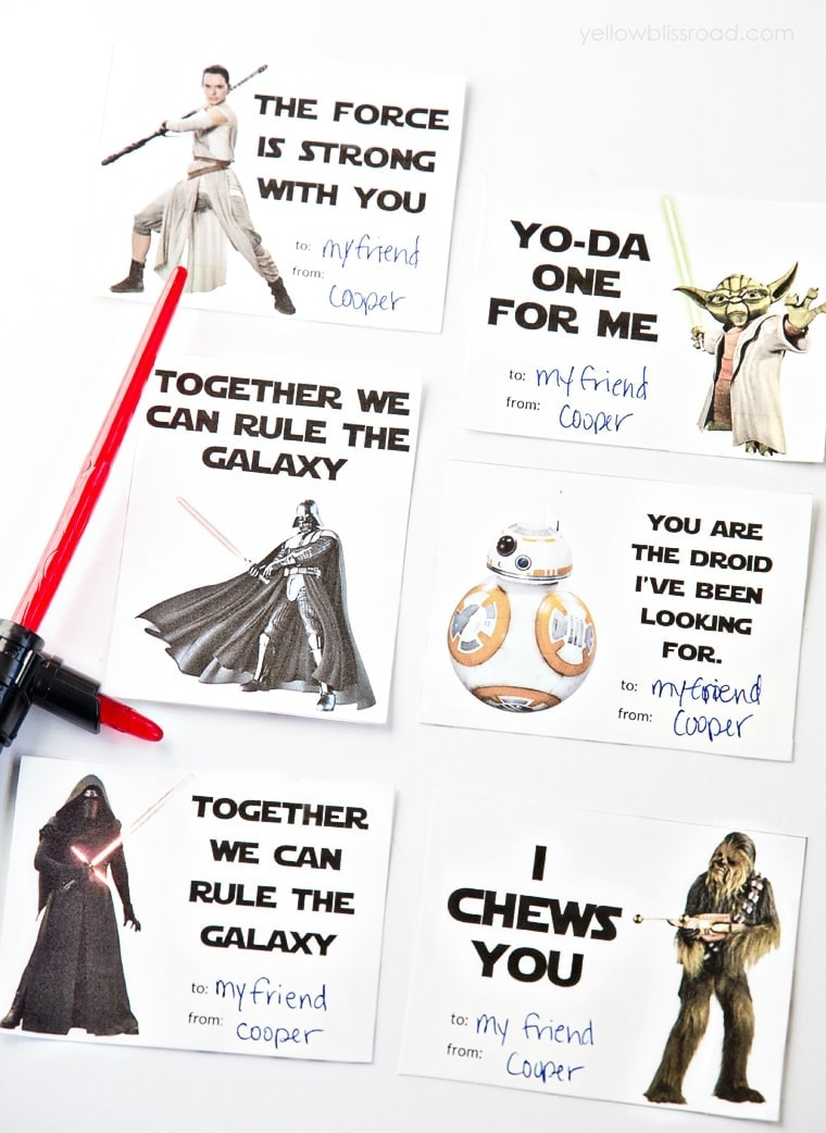 photo regarding Valentines Day Cards Printable referred to as Printable Star Wars Valentines Working day Playing cards - Yellow Bliss Street