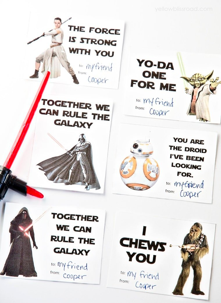 image relating to Printable Star Wars Images named Printable Star Wars Valentines Working day Playing cards - Yellow Bliss Highway