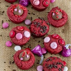 close up of red velvet brownie bites