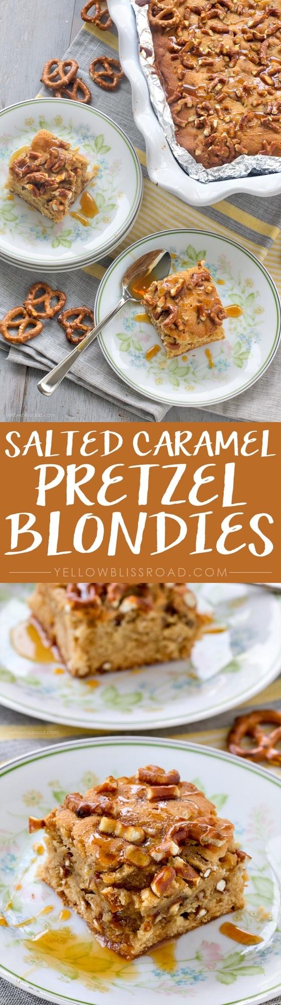 Salted Caramel Pretzel Blondie Bars