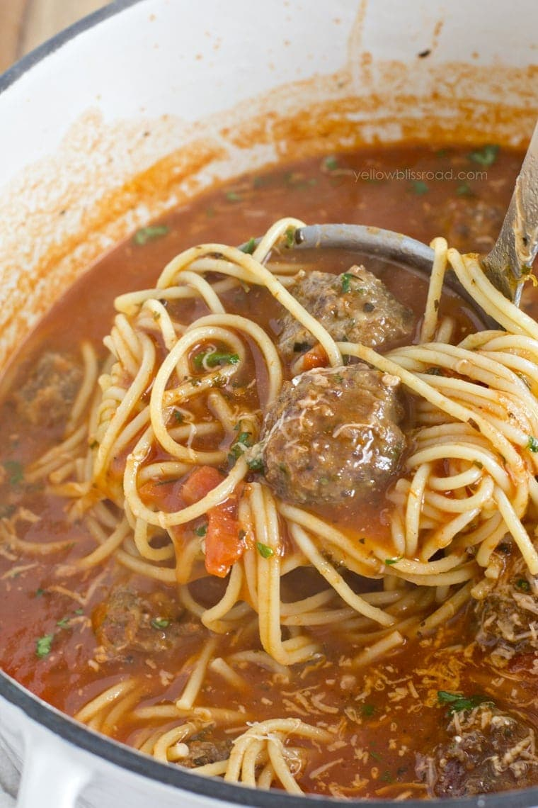 Spaghetti and Meatballs Soup