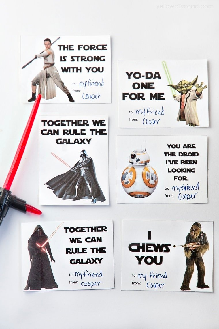 photograph relating to Star Wars Printable Cards named Printable Star Wars Valentines Working day Playing cards - Yellow Bliss Street