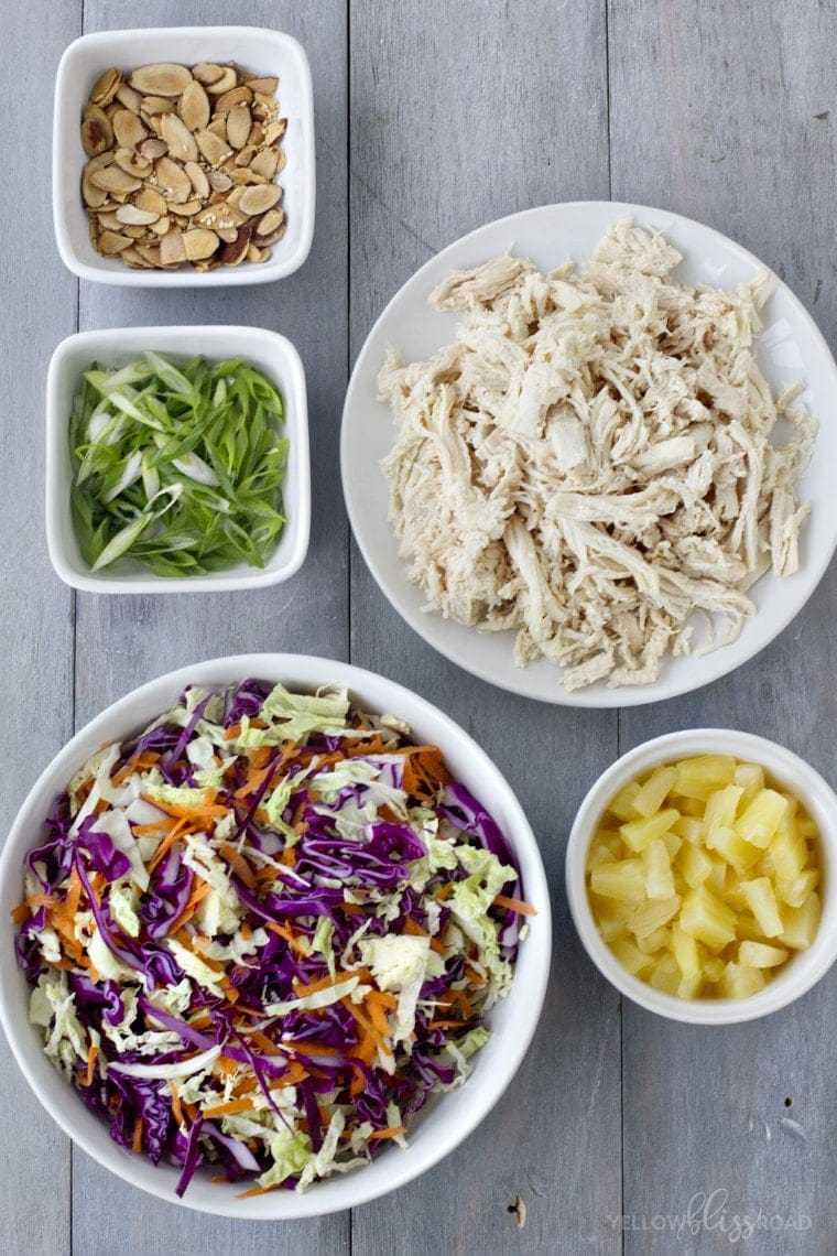 Tropical Chicken Slaw with Creamy Pineapple Vinegairette, Toasted Almonds & Sesame Seeds