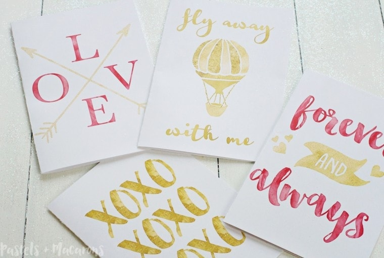 Free Printable Gold Foil Valentine Cards