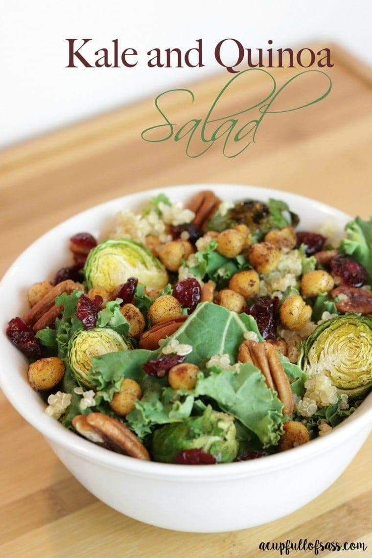 Kale Quinoa Salad - a healthy and delicious salad made with roasted brussel sprouts, toasted pecans and cinnamon spiced chickpeas.