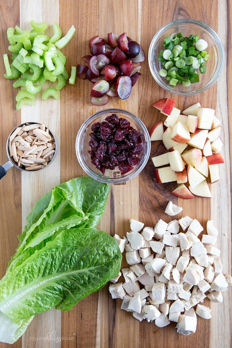 Apple, Grape and Chicken Salad Ingredients