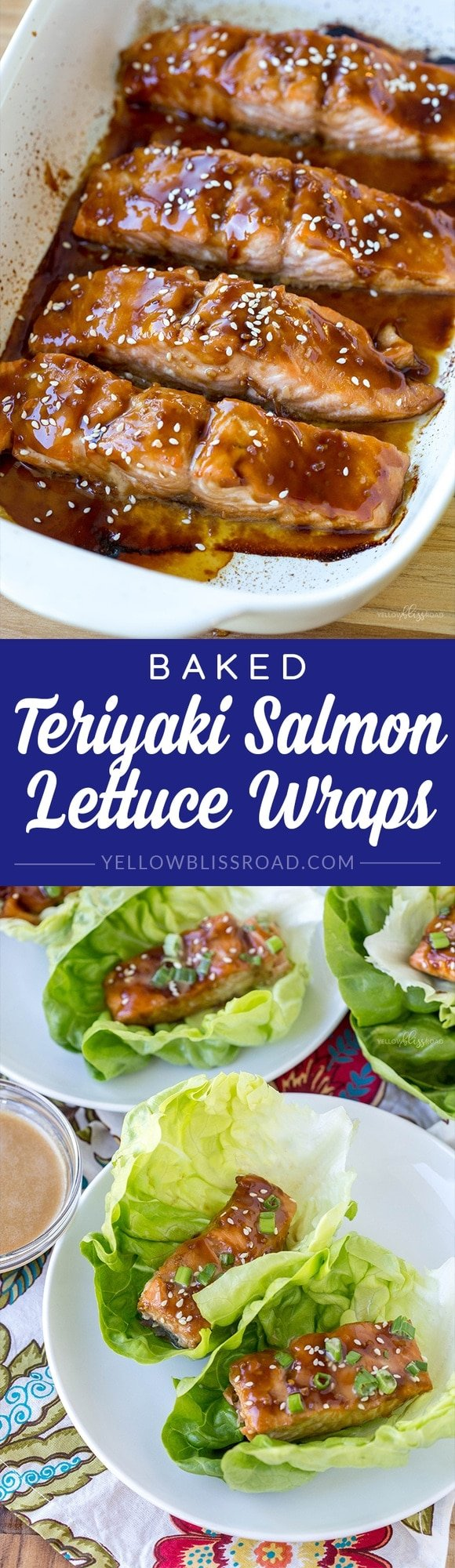 Tender, flaky pieces of Baked Teriyaki Salmon are nestled in crisp lettuce wraps. A healthy and light protein-packed meal for lunch or dinner.