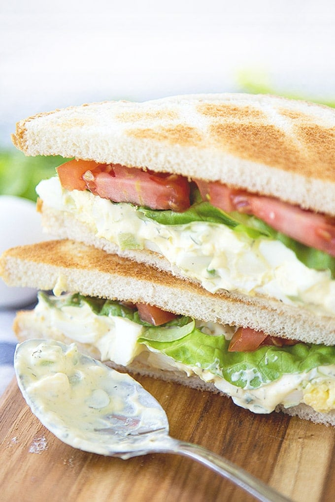 Egg Salad Sandwich with lettuce and tomatoes
