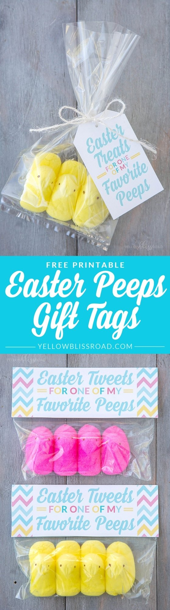 Peeps easter gift idea with free printables yellow bliss road free printable peeps easter gift tags use these free printable gift tags to make sweet negle Images