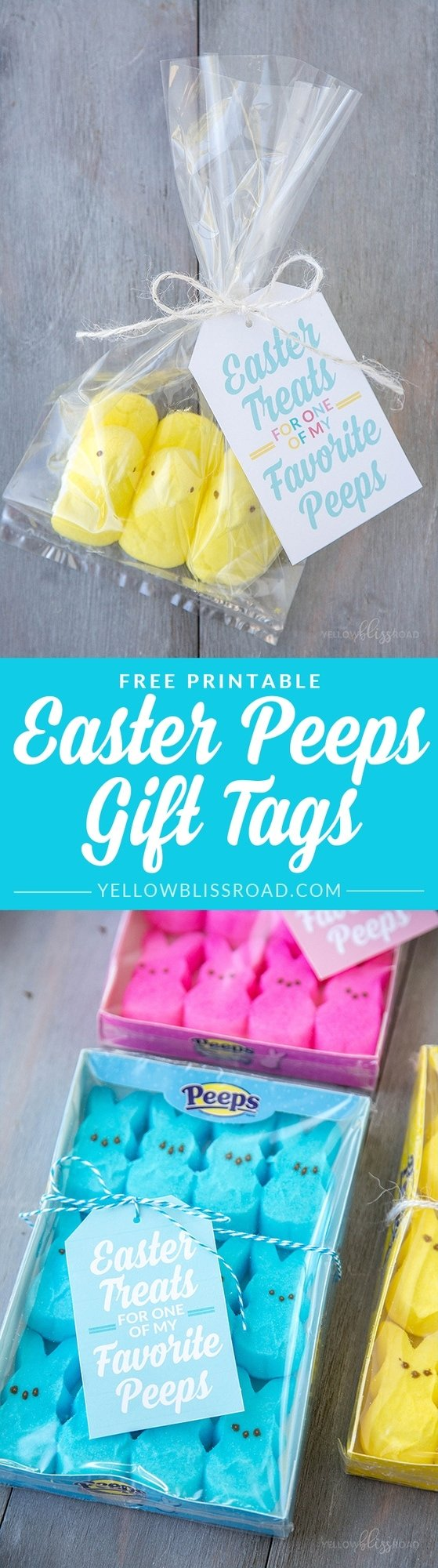 Free Printable Peeps Gifts Tags for Easter - Cute classroom, friends or neighbor Easter gifts