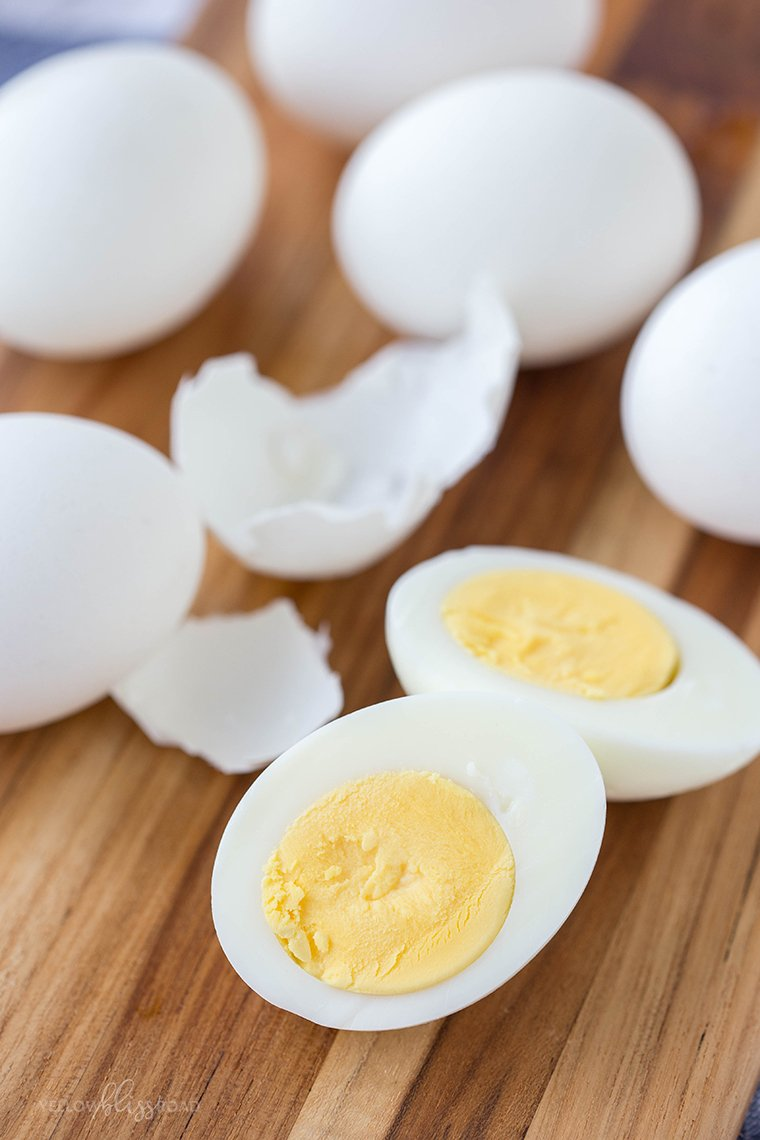 A close up of a hard boiled egg that's been sliced in half.
