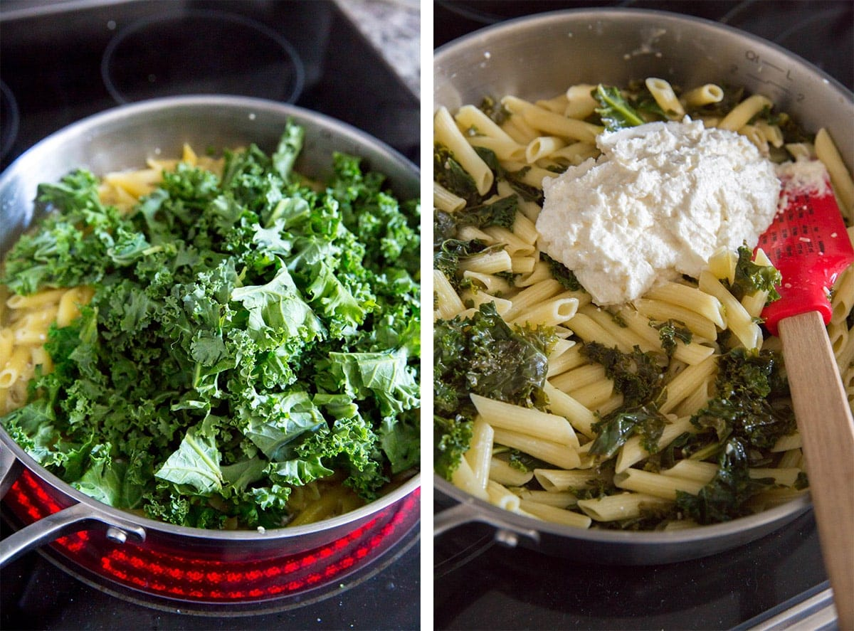 collage of two images showing how to add kale to pasta