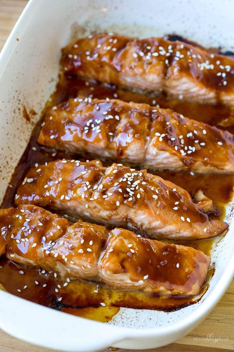 Baked Teriyaki Salmon - Protein packed salmon pieces are marinated in a sweet teriyaki sauce then baked to tender, flaky perfection. They are a healthy, protein-packed meal for lunch or dinner.