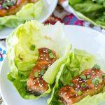 A plate of teriyaki salmon lettuce wraps