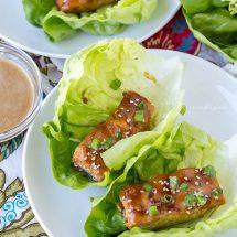 Baked Teriyaki Salmon Lettuce Wraps