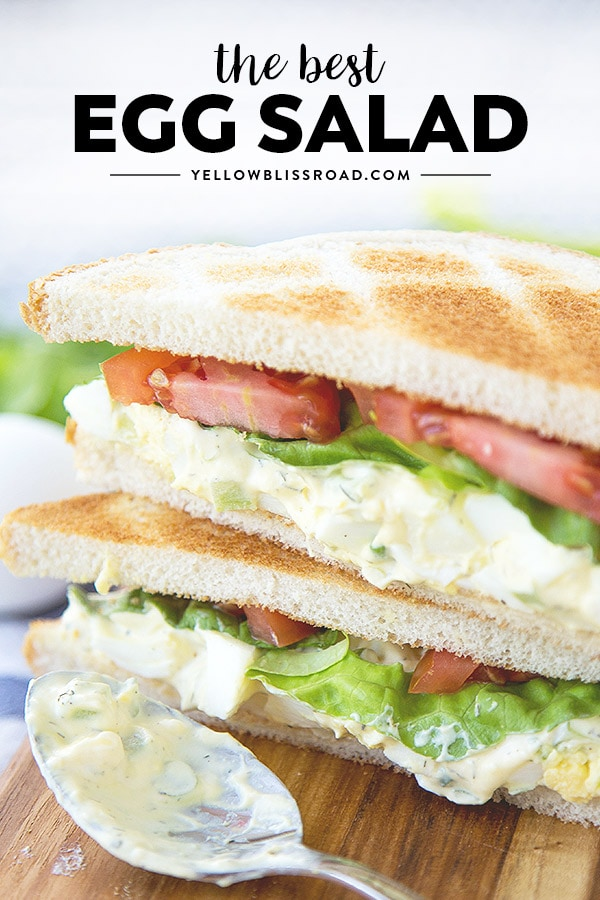 Egg Salad Sandwich with title text on the photo.