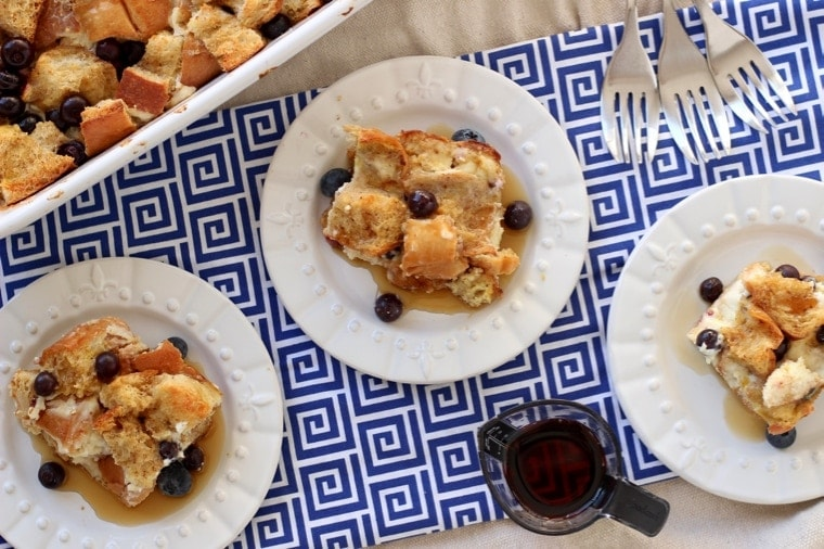 Blueberry Cream Cheese French Toast Bake--A delicious breakfast dish everyone will love.