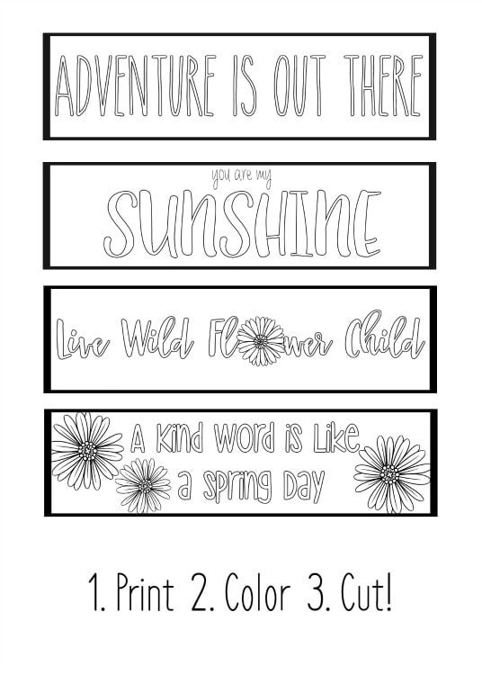 Printable Spring Bookmarks Coloring Page - Yellow Bliss Road
